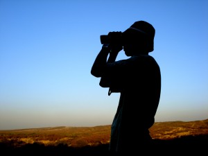 Student looking out to the horizon with binoculars