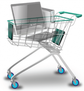 Computer in a shopping cart