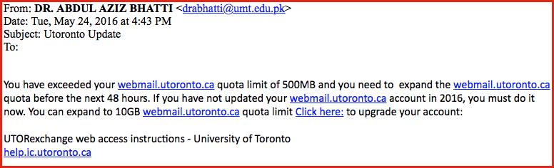 Utoronto update phishing email