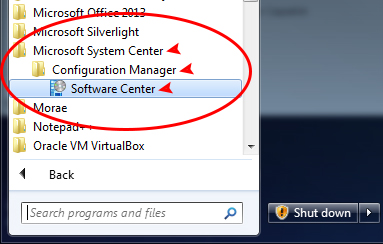 Click Microsoft System Center -> Configuration Manager -> Software Center