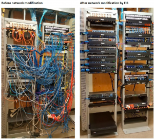First image shows the network cables before and after the network modifications done by EIS.
