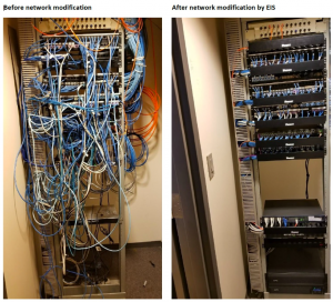 Second image shows the network cables before and after the network modifications done by EIS.