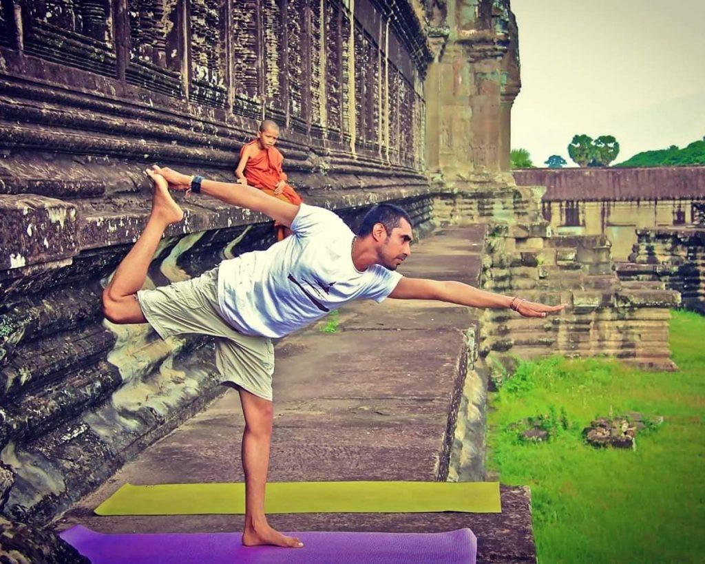 Vikram Chadalawada doing yoga