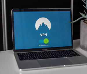 "Laptop showing ""VPN"" on screen"