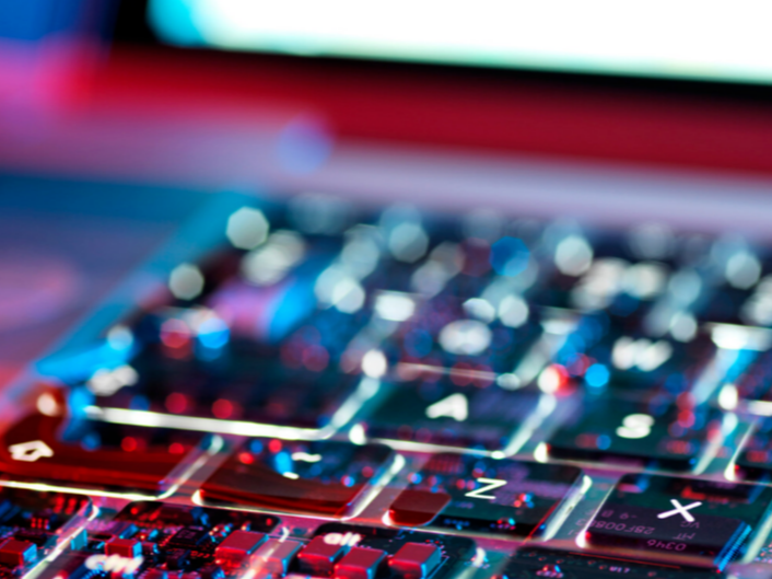 Colourful and blurred image of computer keyboard