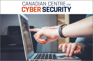 Hands pointing at laptop screen with words above: Canadian Centre for Cyber Security