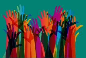 Colourful graphic of hands raised