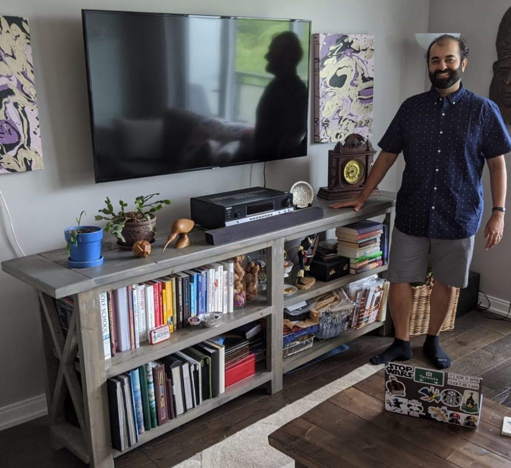 sarosh jamal pictured at home with his wood project