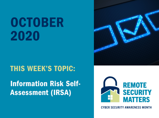CSAM 2020 banner. This week's topic: Information Risk Self-Assessment (IRSA)