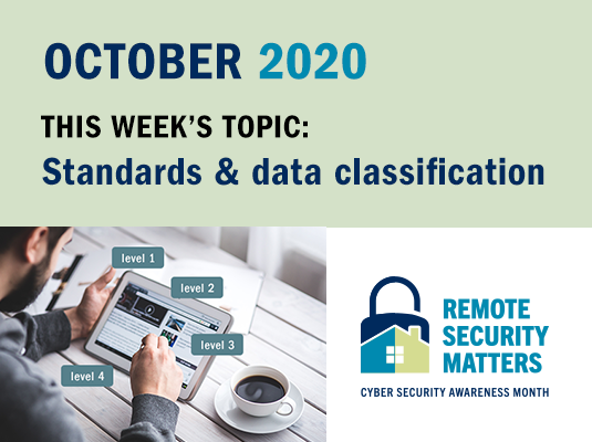 CSAM 2020 banner. This week's topic: standards & data classification