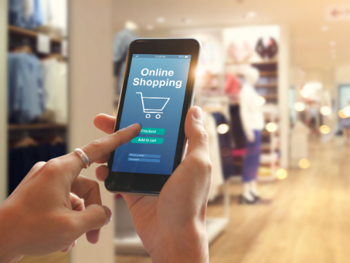 Person online shopping on smart phone