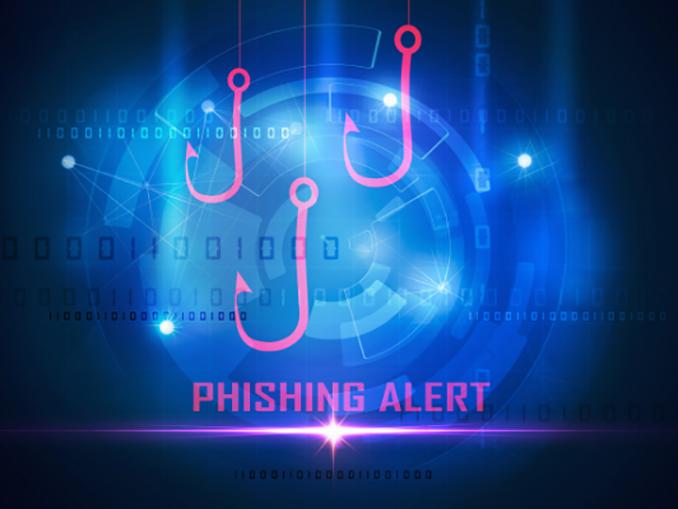 "Image of hooks and words ""phishing alert"""