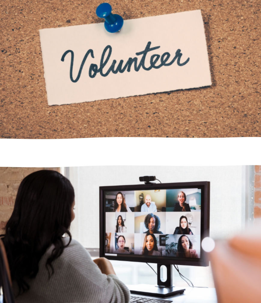 volunteer sign and women at a computer participating in an online meeting