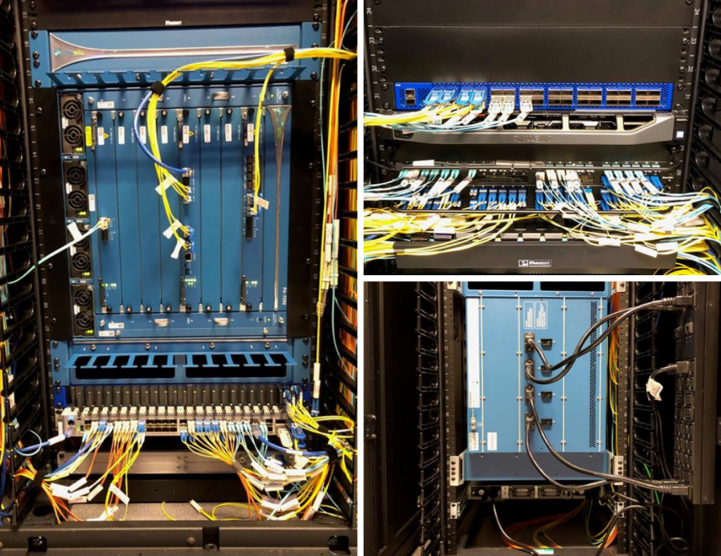 Collage of three images showing close up of firewall technology and hardware