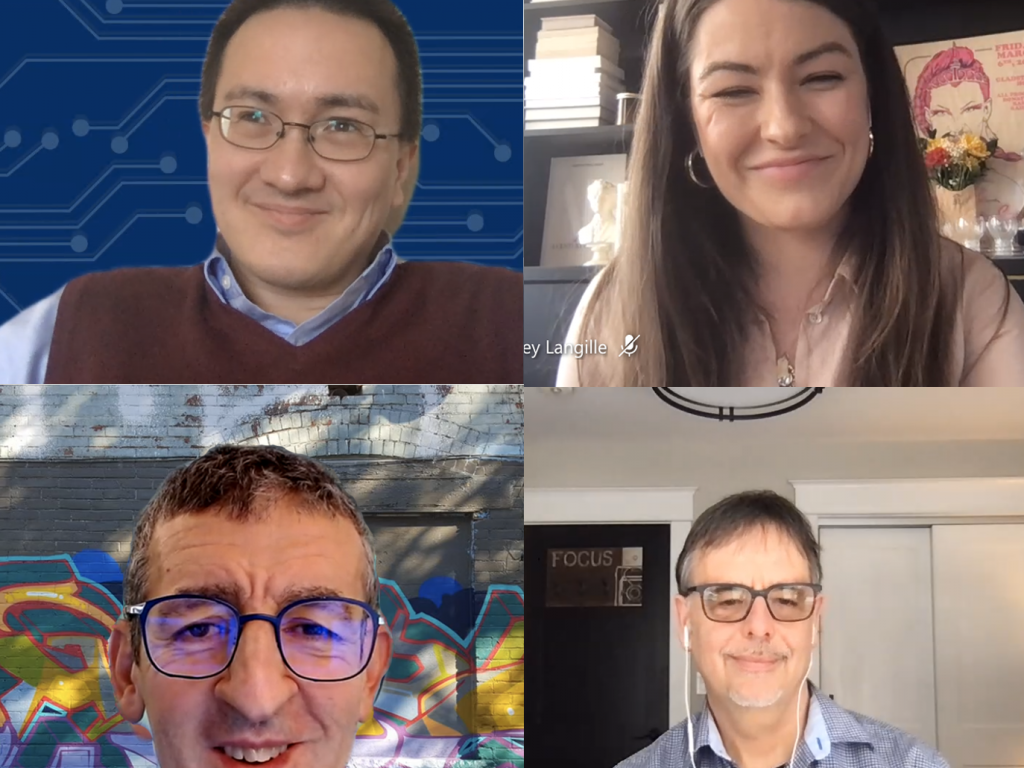 Webinar screen showing headshots of Andrew Petersen, Ashley Langille, Rafael Eskenazi and Ron Deibert