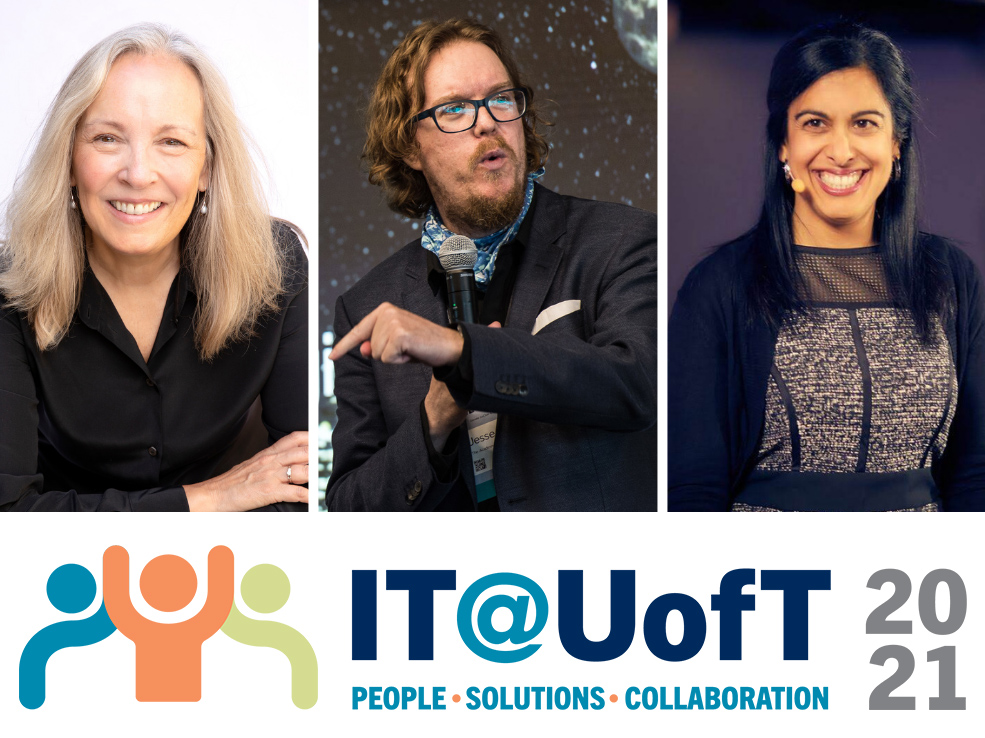 IT@UofT conference collage of three keynote speakers and logo