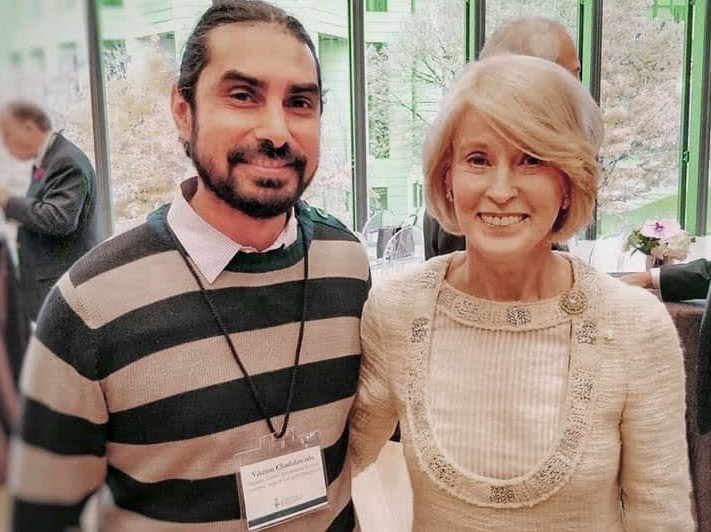 Vikram Chadalawada pictured with Rose Patten, Chancellor of the University of Toronto.