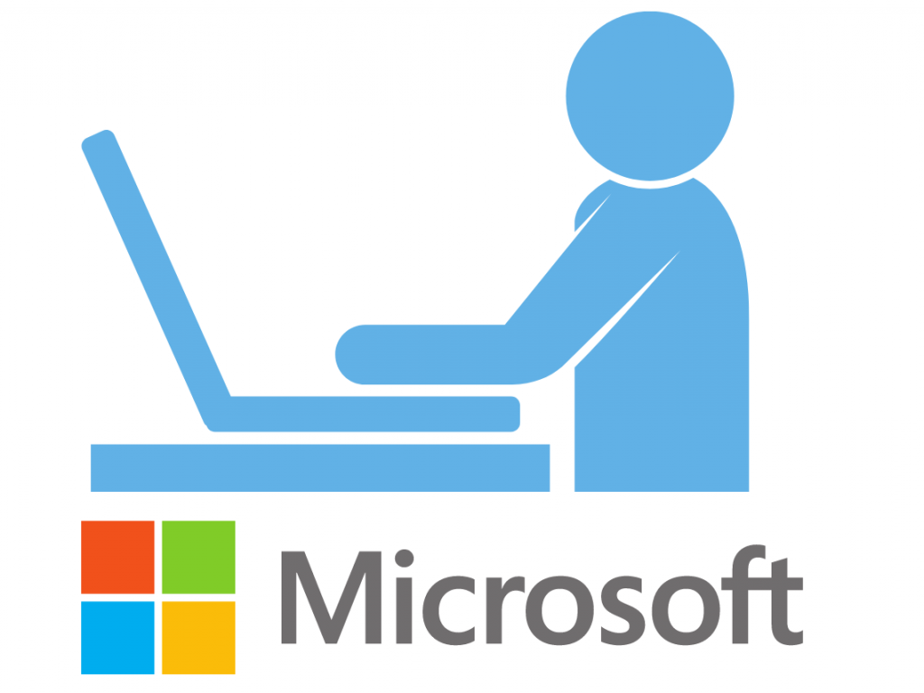 Microsoft logo and person working at laptop