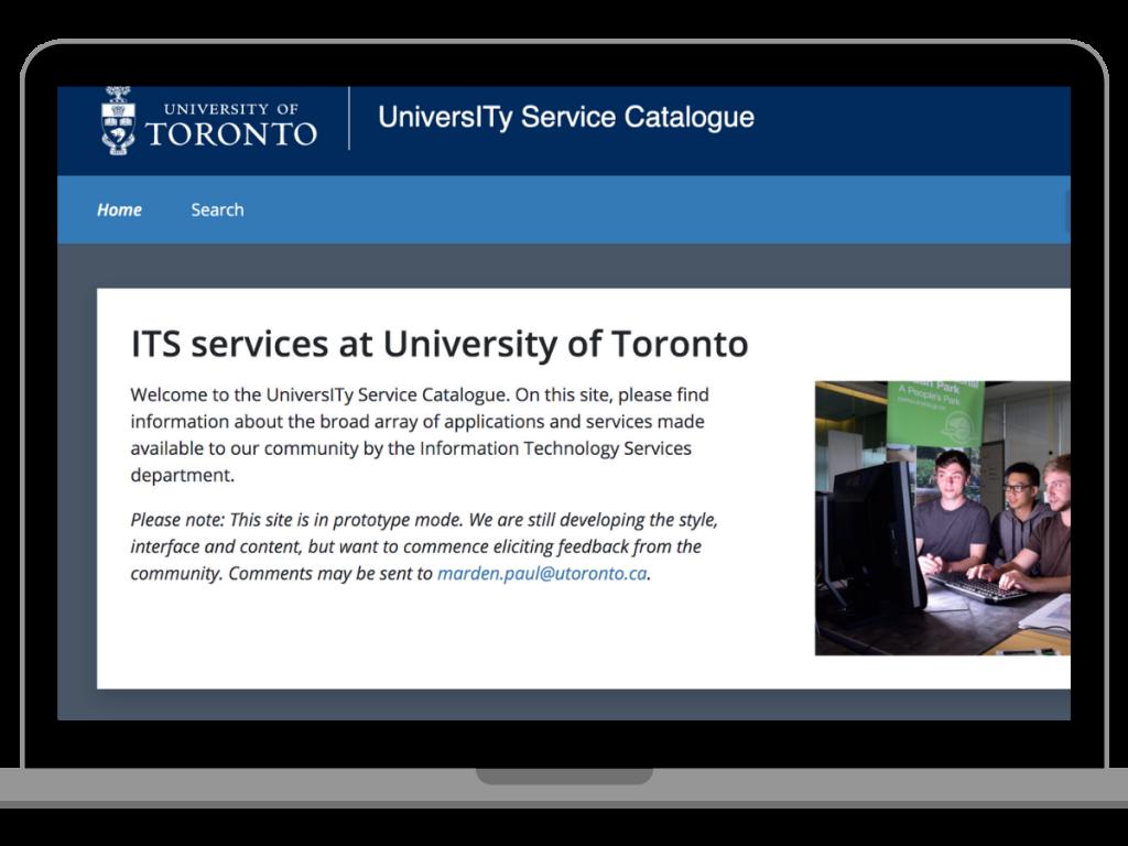 Screen shot of University Service Catalogue