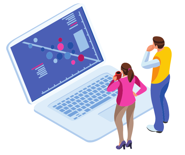 Graphic of laptop and two people looking at screen