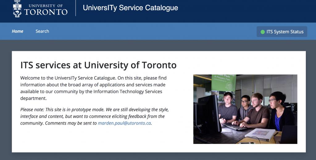 UniversITy Service Catalogue screenshot