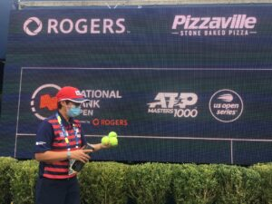 Alison Dias working as an officiant at the National Bank Open 2021