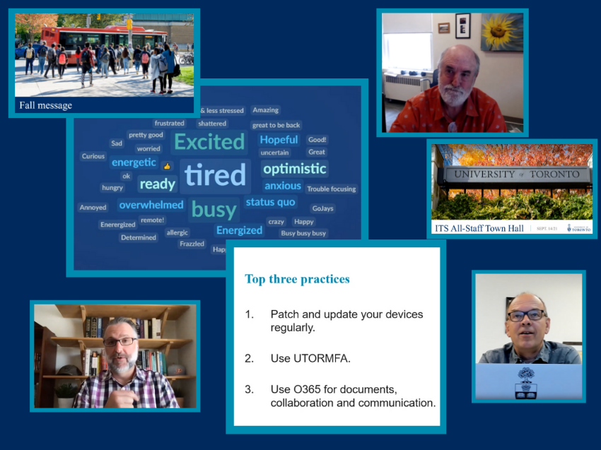 A collage showing screenshots from the ITS virtual town hall.